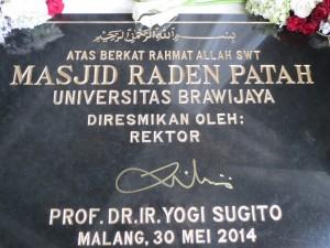 Ucapan Peresmian Masjid Raden Patah UB